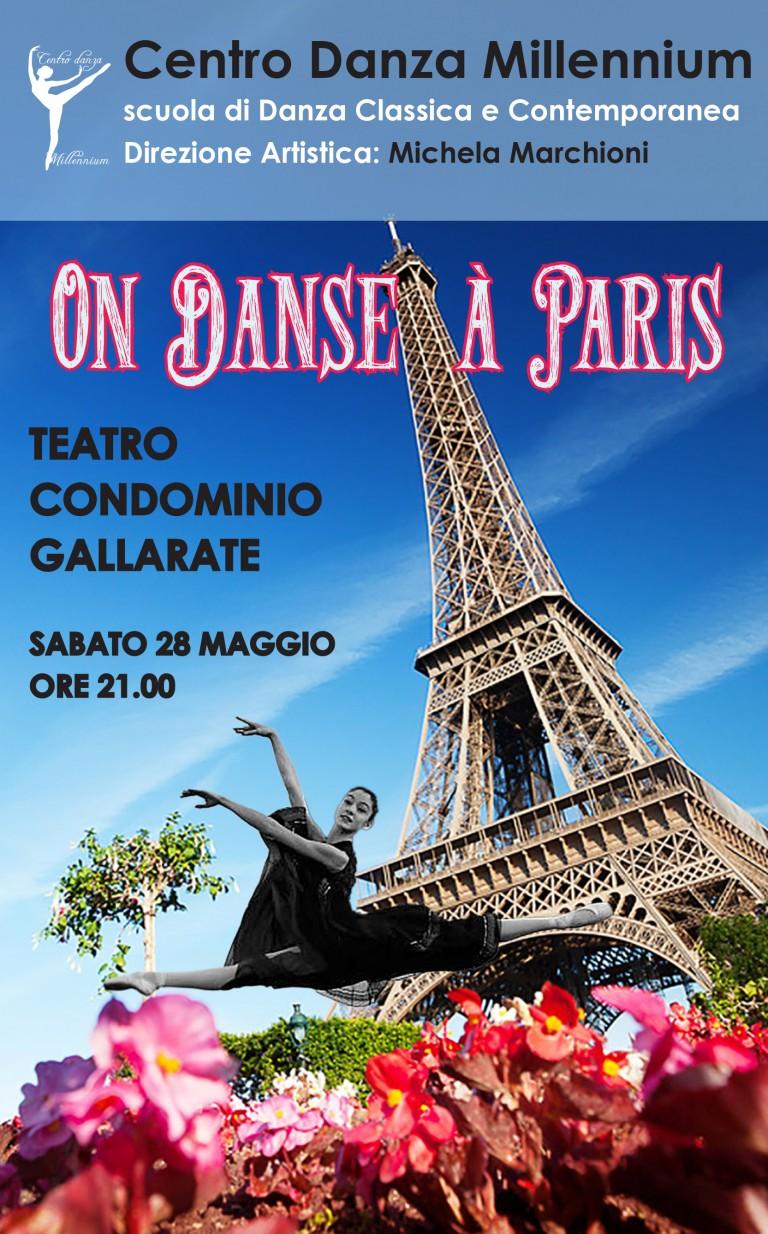 Locandina On Dance à Paris con ballerina di danza classica al centro